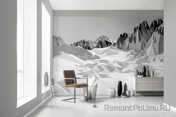 Черно-белые фотообои на стене