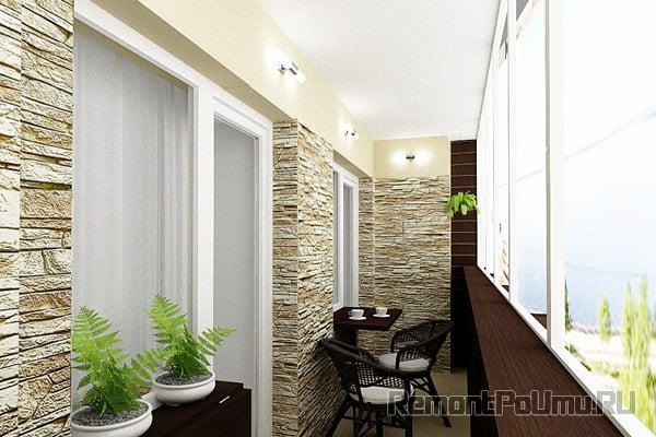 Декоративный камень в интерьере балкона