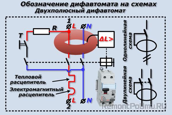 Обозначение дифавтомата на схемах
