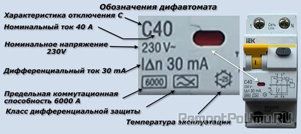 Обозначения дифавтомата