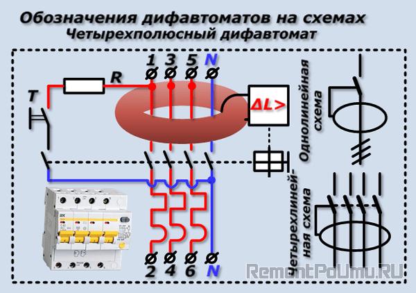 Обозначения дифавтоматов на схемах