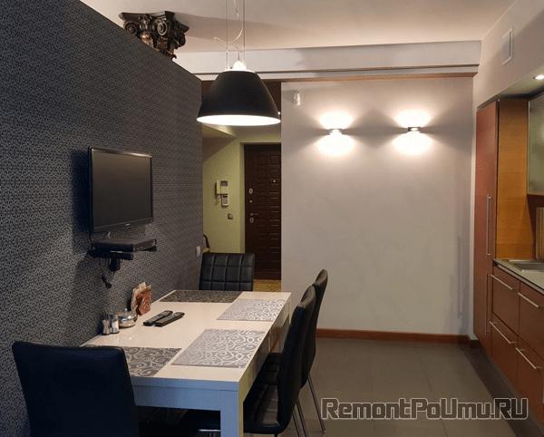 Стеклообои на стенах кухни